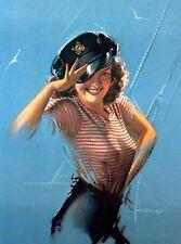 1940s Pin-Up Girl Sailor Girl Ay Ay Picture Poster Print Vintage Art Pin Up
