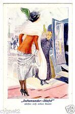 POSTCARD GERMAN SHOE ADVERTISING SALAMANDER-STIEFEL WOMAN AT AUTOMOBILE