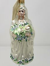Patricia breen glass ornament: Madonna holding baby juses in pearl dress