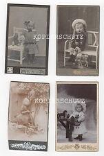 4 alte Fotos CDV Hartkarton Kinder mit Spielzeug um 1910
