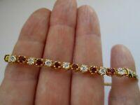 "Vintage Gold Pink & Clear Glass Seed Rhinestone Snake Link Panel Bracelet 8"""