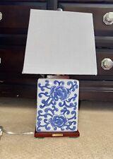 RARE Ralph Lauren Lotus Flower Porcelain Blue Table Lamp w/ Shade NWT