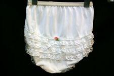 Girls 4T Nos Vtg 1960s Ruffle Butt Nylon Lace Her Majesty Panties Childs Brief