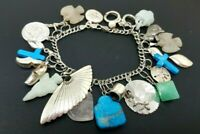 "Vintage Sterling Silver 925 Turquoise Jade Charm Bracelet 7""  22 charms"