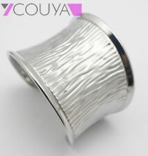 Fashion Stainless Steel Punk Silver Wide Texture Cuff Bangle Bracelets for Women