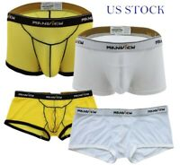 US Men Boxers Briefs Mesh Bikini Trunks Bulge Pouch Underwear Waistband Shorts