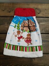 Double Sided Hanging Kitchen Towel Padded Quilted Top Gingerbread Man Christmas