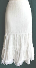 ANN TAYLOR LOFT White Linen Maxi Skirt Sz 6 A-Line Ruffle Hem Lined Fit N Flare