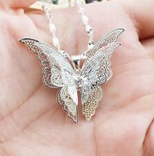 Women's Silver Hollow Butterfly Necklace Pendant & Chain New Gift Jewellery Lady
