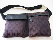 Auth GUCCI GG Brown Canvas Leather Waist Pouch Body Hip Bum Bag