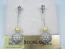 Swarovski Crystals & Pearls 1234 D'Orlan Rhodium Plated Pierced Earrings with