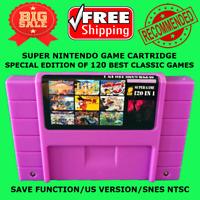 Super Nintendo Game 120 In 1 To SNES US NTSC Multi Cart Cartridge 16 Bit Console