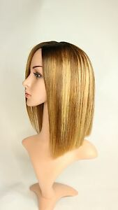 """HER COLLECTION WIGS 100% Human Hair Swiss  Lace Blonde OMBRE Balayage 10"""" Wig"""