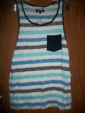 NWT COMPANY 81 WHITE MULTI-COLOR POCKET TANK Size LARGE Retails $26.00