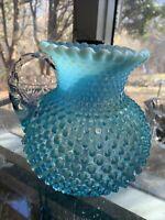 Fenton Blue Opalescent Hobnail Glass Water Pitcher
