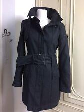 Zara Size Medium Dark Charcoal Grey Button Jacket Wool Buckle