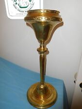 """ANTIQUE BRASS OIL LAMP TANK BASE PLANT STAND CANDLE HOLDER CHURCH PIECE? 21"""""""