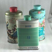 Avon Vintage Talcum Powder Set of 3 Tins Beauty Decor