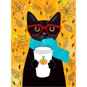 Round Drill 5D Diamond Painting Rhinestone Glasses Black Cat Art Cross Stitch