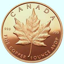 A 1 Oz  .999 Fine Copper Bullion Round Canada Maple Leaf in Vinyl Coin Flip