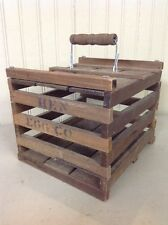 "Vintage Hen Egg Carrier Wood Crate W/ Handle 18-24 Eggs Farm ""HEN EGG CO"""