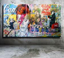 Original Print Oil Painting on Canvas,Mr Brainwash Banksy Graffiti David Bowie