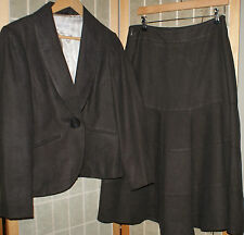 PHASE EIGHT brown 100% linen blazer jacket and A-line skirt suit size 12 UK