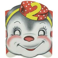 Diecut Circus Card Birthday Greeting Norcross Mask 2 Years Old 1950 Vintage
