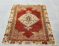 Oushak Hand Knotted Vintage Wool Carpet Anatolian Oriental Unique Area Rug 3x5ft