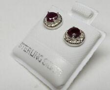 RUBY Genuine Gemstone 925 STERLING SILVER Round STUD EARRINGS >Special Sale< NEW
