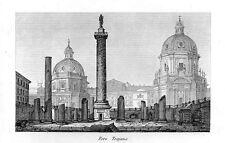 Stampa antica ROMA veduta del Foro di Traiano 1848 Old print Rome