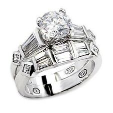 6X014 WEDDING & ENGAGEMENT WOMENS SOLITAIRE  SIMULATED DIAMOND RING SET SIZE J,T