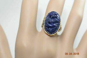 Blue Lapis Antique 14K Gold Ring Vintage Pierced Carved Bird & Flowers RARE!