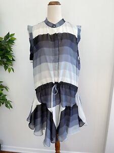 Shona Joy Women's Size 10 Sheer Sleeveless Dress White Grey Stripe