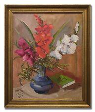 TAGE RUDOLF AHLM / FLOWERS IN BLUE VASE -Original Swedish Oil Painting from 1949