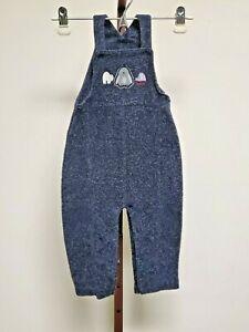 18 months Oshkosh Baby Overalls Winter Polyester Mohair Navy Blue Unisex Bibs