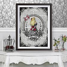 ART PRINT ANTICO LIBRO pagina sfondo Tatuaggio Alice nel paese delle meraviglie dizionario
