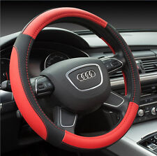 Microfiber Soft Leather Black&Red Fiber Car Steering Wheel Cover 38CM For Toyota
