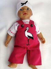 Puppenbekleidung Latzhosen  Set, 3-teilig  für Baby Born 32 - Storch-