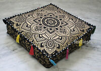 "18"" Indian Mandala Black Gold Floor Decorate Square Pillow Cushion Cover Throw"