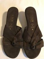 "Women's Italian Shoemakers Bronze Brown Slides Wedges Size 8, 2.25"" Wedge Heel"