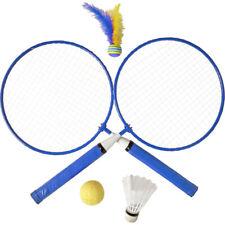 Kinder Federballset Badmintonset mit 2 Schläger 1 Federball 2 Bälle Outdoor blau
