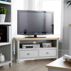 Grey Oak Corner TV Stand Two Tone 1 Drawer Cabinet Television Unit Seconds