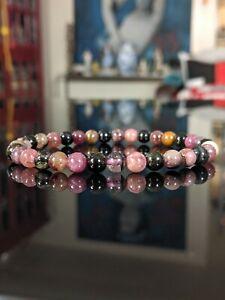 "Natural Multi-Color TOURMALINE Bead Bracelet for Men Stretch 6mm 7"" 7.5"" 8"" 8.5"""