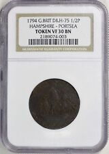 Great Britain 1794 Halfpenny D&H-75 Hampshire - Portsea Token NGC VF-30 BN