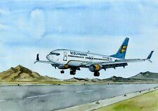 ORIGINAL AQUARELL - Icelandair, Boeing 737-MAX 8.