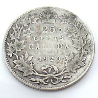 1920 Canada 25 Twenty Five Cents Quarter Silver King George V Canadian Coin G751