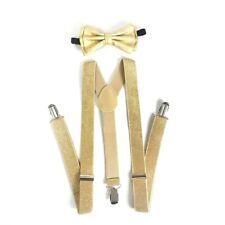 New Metallic Gold Bow Tie & Matching Suspender Set Tuxedo Wedding Accessories
