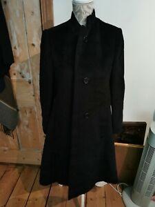 VINTAGE JOHN REYLE OF NEW YORK BLACK HEAVY WOOL LONG COAT EASILY UNISEX