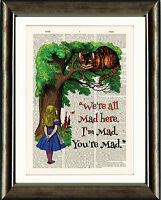 ANTIQUE BOOK PAGE DIGITAL ART PRINT Alice in Wonderland Alice and Cheshire Cat